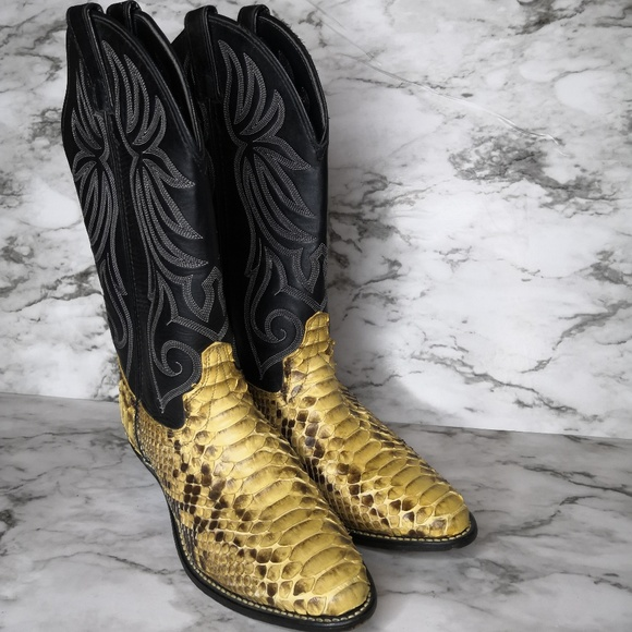 ff6481259ab Laredo Snake Skin Black Leather Cowboy Boots 6M